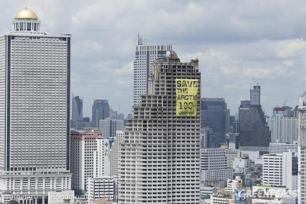 'Mountains and Rooftops' Arctic Sanctuary Action in Bangkok. 09/04/2014  © Roengchai  Kongmuang / Greenpeace