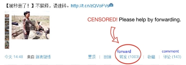 "Weibo post ""Censored! Please forward!"""