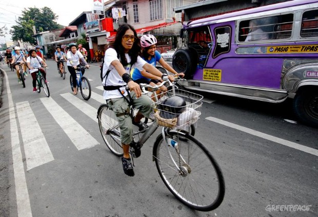 Water patrol bikers traverse busy thoroughfare in Pasig City, eastern Manila