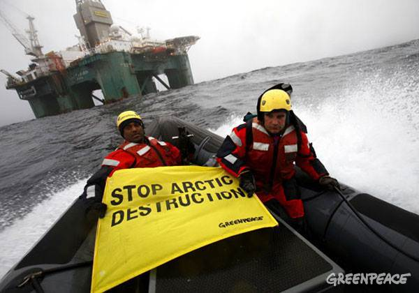 action against an oil rig in greenland