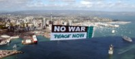 Greenpeace fly a 'NO WAR' over America's Cup yacht race
