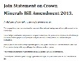 Joint Statement on Crown Minerals Bill Amendment 2013