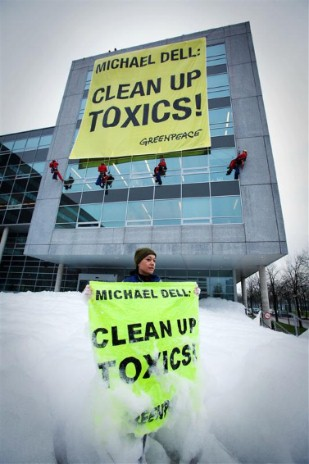 Banners asking Michael Dell to clean up toxics