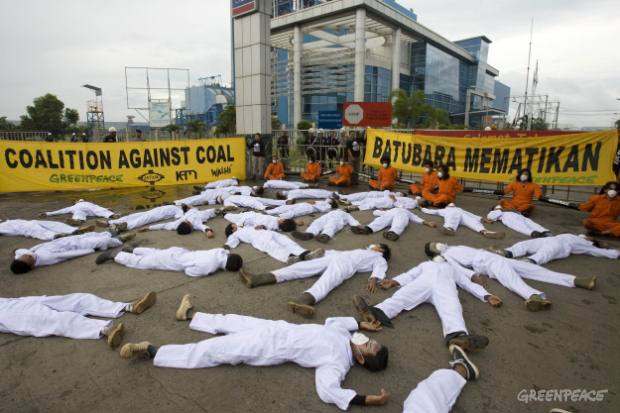 Action at Cilacap coal plant on Central Java's south coast, Indonesia