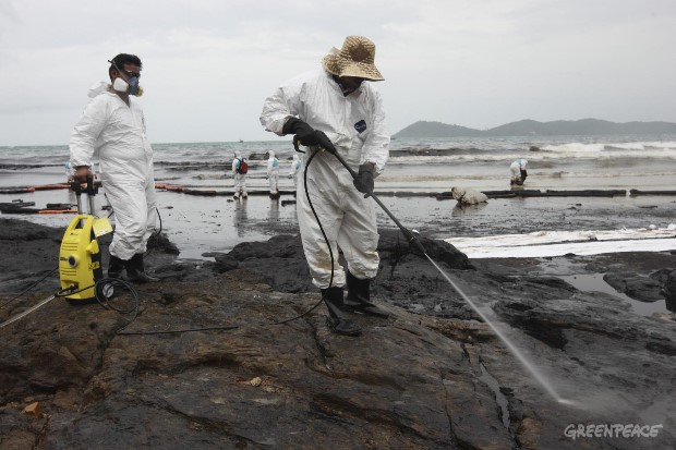 Oil Spill Clean Up Rayong Province, Thailand
