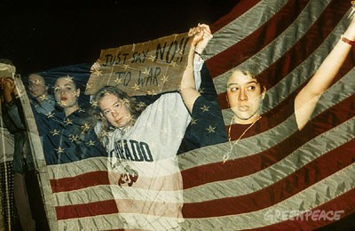 Demonstration in Washington against the Gulf War.