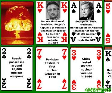 "The Greenpeace ""Most Wanted"" playing cards in a Solitaire game"