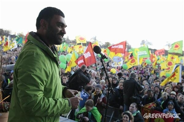Greenpeace International Executive Director Kumi Naidoo addresses protesters at the anti-nuclear demonstration.