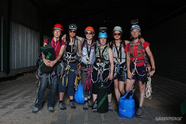 Six women climb the Shard to Save the Arctic