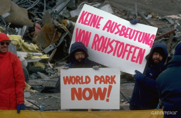 Greenpeace protest against waste dump at US McMurdo Base Camp in Antartctica, 1988.