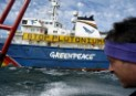 Activists onboard the Greenpeace ship