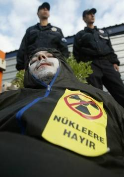 Greepeace activists protest against Turkey's nuclear tender