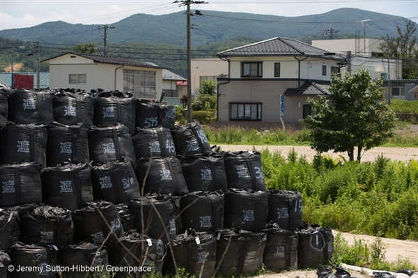 Iitate district, northwest of the Fukushima Daiichi nuclear plant, was heavily contaminated by the March 2011 accident. Here, bags of radioactive waste pile up nearby abandoned homes (Jul 2015).