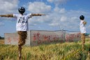 Scarecrows planted by Greenpeace activists