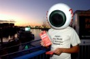 Greenpeace eyeball hands out anti whaling flyers