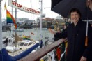Helen Clark takes a look at the Greenpeace flotilla before they head out to sea