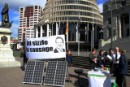 Greenpeace New Zealand puts on a solar powered sausage sizzle outside of parliament