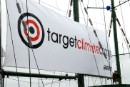 Target Climate Change banner on the Rainbow Warrior