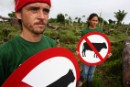 Activists with 'forbidden-cattle' signs in the Green Forever reserve