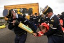 Greenpeace activists block road to be used by US nuclear convoy