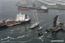 The perilous space between an oil tanker and a harbour