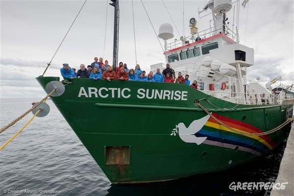 Crew on board the Arctic Sunrise, 2018