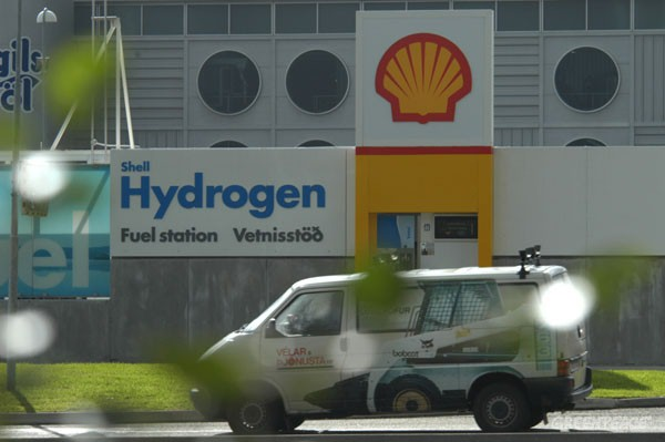 Hydrogen station in Reykjavik which has just started supplying three buses with renewable hydrogen fuel, made from water using geothermal energy abundant in Iceland.