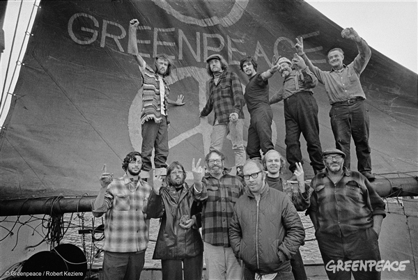 Crew of the Greenpeace, the original voyage to protest nuclear testing in Amchitka, 1971