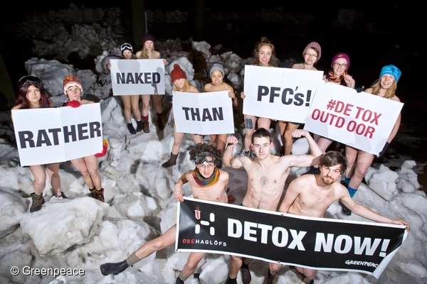Detox Outdoor Haglöfs Clothing Action in Stockholm. © Greenpeace 22/02/2016