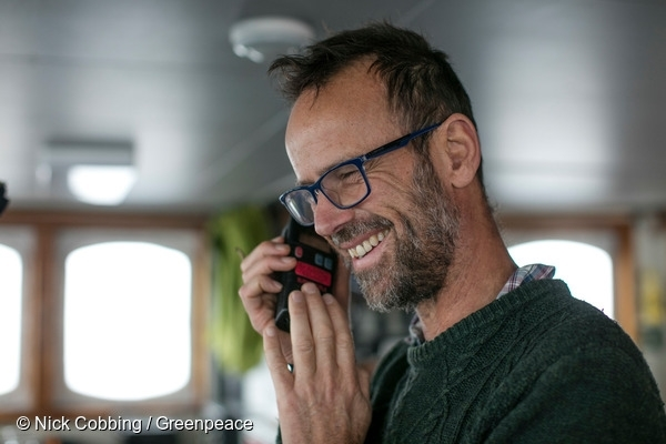 Captain Mike Fincken on the bridge of the Arctic Sunrise, 15/07/2016 © Nick Cobbing / Greenpeace