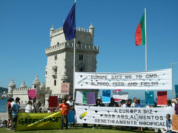 Portugal says NO to GMOs  at the Belém Tower, Lisbon