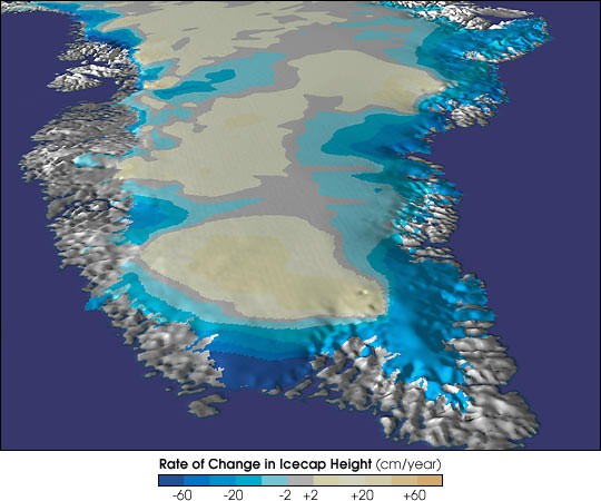 Thinning Greenland icecap illustration courtesy of the US National Snow and Ice Data Center (NSIDC).