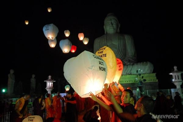 'Save the Climate' lanterns in Bihar