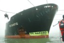 "Greenpeace Protests Against ""Floating Dustbin"" in Rotterdam Harbour"