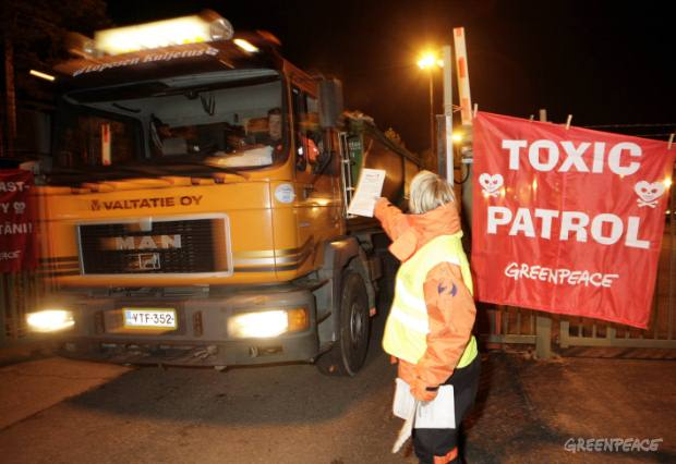 Activists block Phthalate producing plant in Helsinki, Finland.