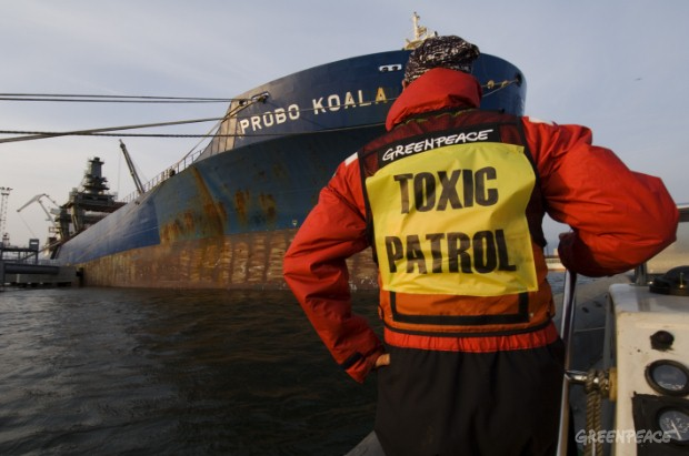 Greenpeace blockades the Panamanian flagged cargo vessel Probo Koala in the harbour of Paldiski in Estonia. On 19th August this year the Probo Koala unloaded a toxic waste shipment in the town Abidjan of the Ivory Coast. A shipment that killed 7 peopl...