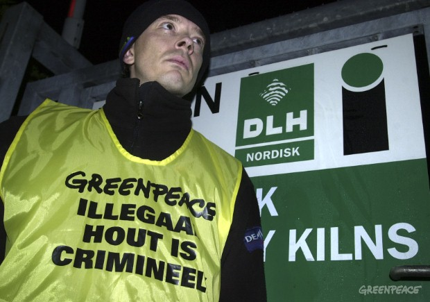 A Greenpeace activist stands in protest at the entrance to timber importer DLH, the world's largest importer of tropical hardwood, in the Dutch town of Vlissingen.