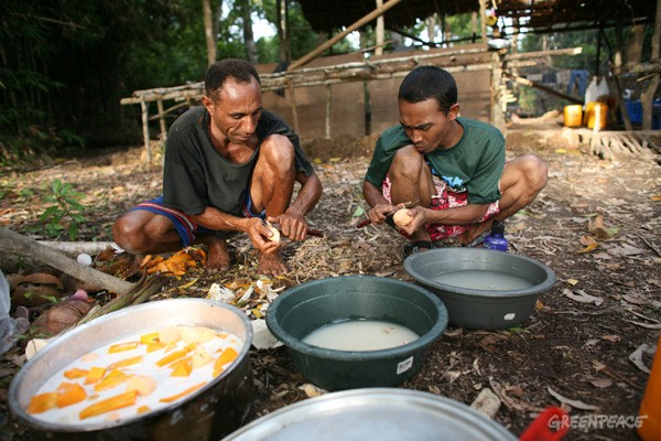Meal preparation at Lake Murray. Sago, taro, and fruits are all harvested from the 'forest supermarket'. Protein is acquired by hunting wild pigs, birds, wallabies and deer. Fish are caught from the lake. When the villagers have money, rice, flour and...