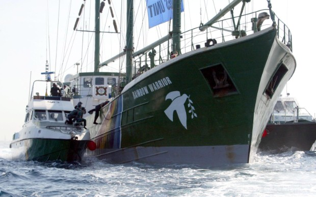 The Greenpeace flagship Rainbow Warrior boarded  by approximately 50 agents of the Spanish Civil Guard riot police in the port of Valencia.