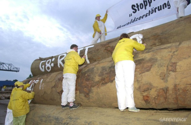 Greenpeace protest in the port of Nordenham against the import of timber from ancient forests destruction