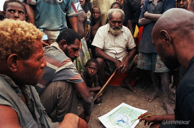 Local land owner and forestry activist, Sep Galeva (right) Lake Murray, Papua New Guinea.