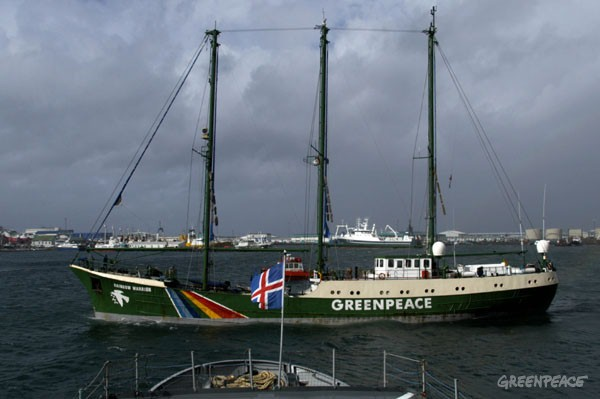 Greenpeace flagship Rainbow Warrior arriving at Reykjavik harbour, at the start of a tour of Iceland to promote sustainable whale watching rather than short-term profit from a resumption of whaling.