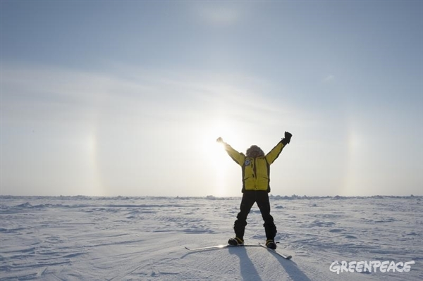 Celebrating at the North Pole - 2013 expedition.