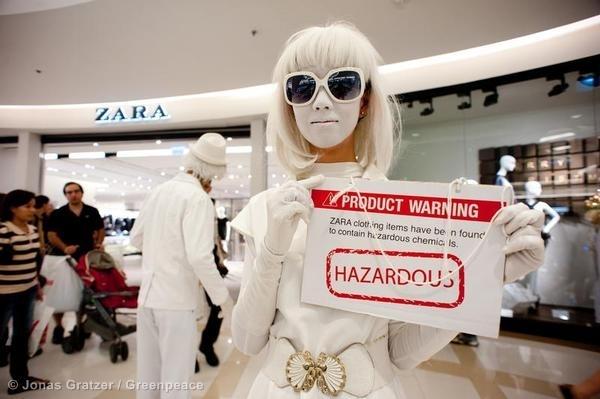 Hazardous warning on price tags for Zara