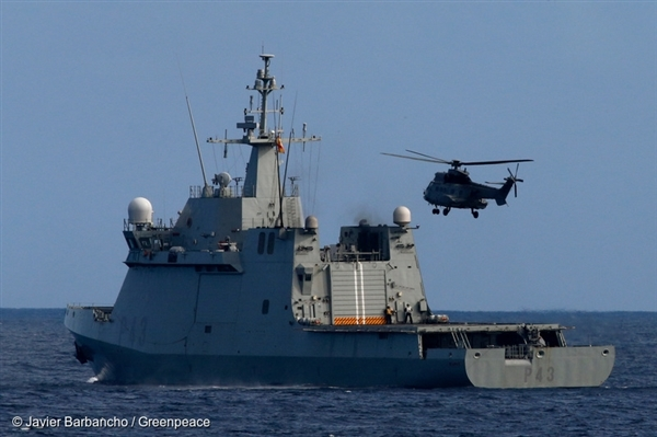 Spanish naval ship off the coast of the Canary Islands, 15 Nov, 2014 © Javier Barbancho / Greenpeace