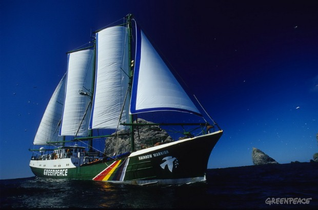 RAINBOW WARRIOR sailing near Stac Lee. North Atlantic, off West Scotland