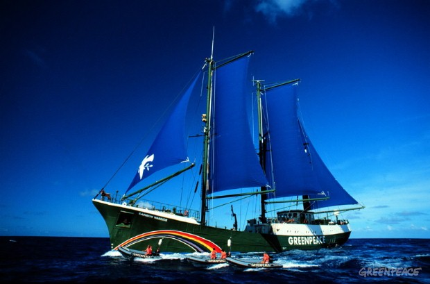 RAINBOW WARRIOR under sail in the North Pacific