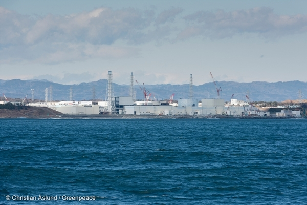 The Fukushima Daiichi nuclear plant as seen from Greenpeace ship, Rainbow Warrior.