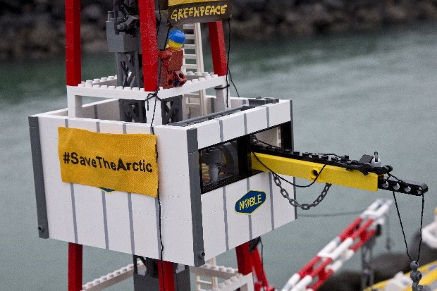"Greenpeace New Zealand recreates a protest scene with LEGO figures. The model is a replica of the Noble Discoverer drillship which was occupied by Greenpeace activists and actor Lucy Lawless in February, 2012 for 77 hours as it was getting ready to depart the Port of Taranaki in New Zealand to start drilling for Shell in the Arctic. Greenpeace is urging LEGO to cut ties with Shell and help 'Save the Arctic."" For the last few years Shell has been using LEGO's brand to clean up its image as an Arctic oil driller. 16 million Shell branded LEGO sets have been sold or given away at petrol stations in 26 countries."