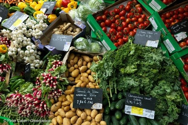 Ecological produce at Raspail Market in central Paris.